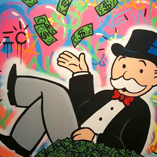 Throw cash Up: Pink Graffiti by Alec Monopoly