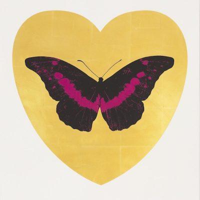 I Love You (Leaf, Black, Fuchsia) by Damien Hirst