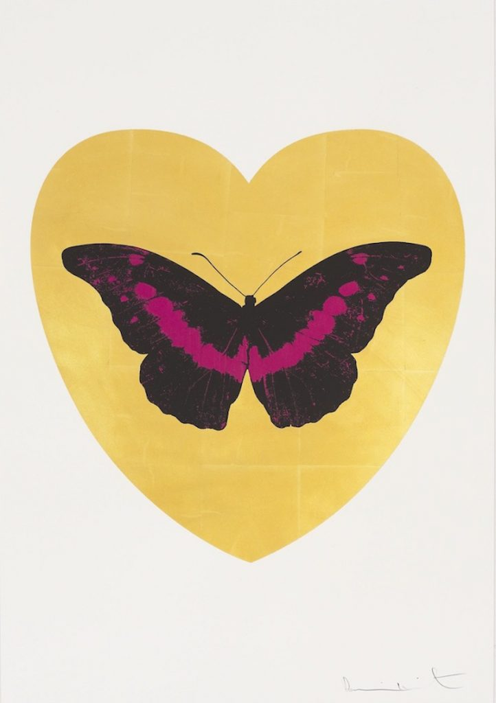 I Love You (Leaf, Black, Fuchsia) by Damien Hirst