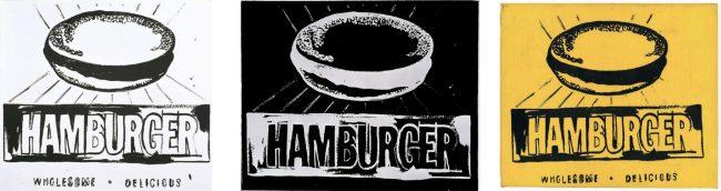 hamburger by Andy Warhol triptych