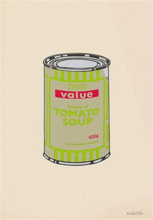 Banksy Soup Can Sage Green Lime and Cherry