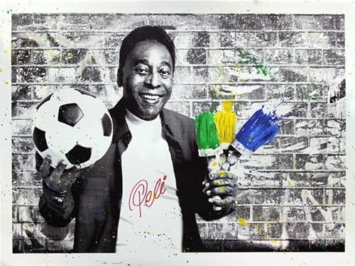 The King Pelé: Brushes Potrait by Mr. Brainwash