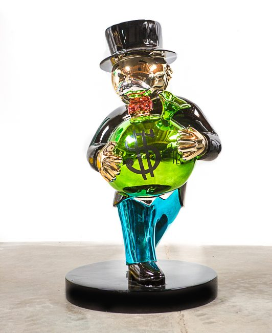 Monopoly Holding Money by Alec Monopoly