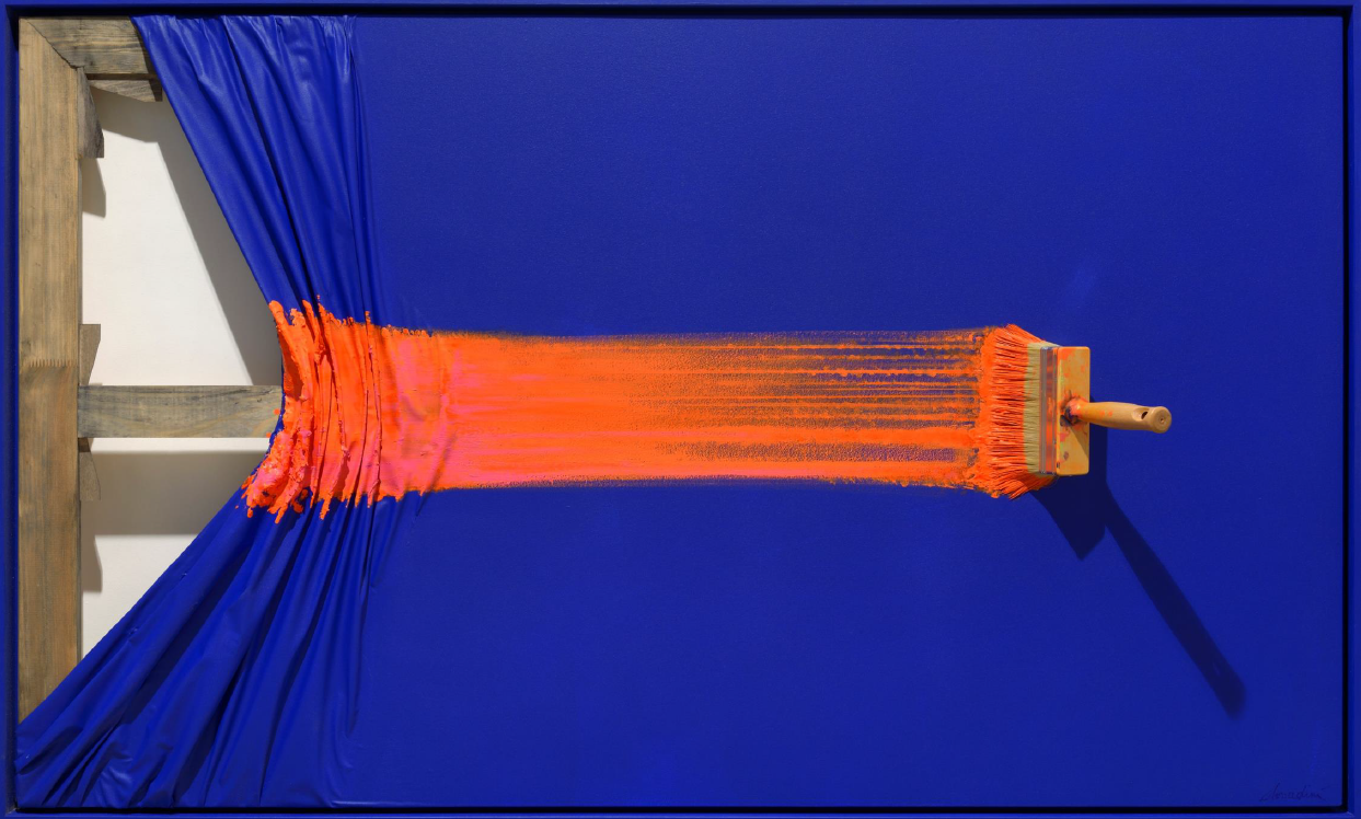 Brosse arretee orange sur blue by Jean-Paul Donadini