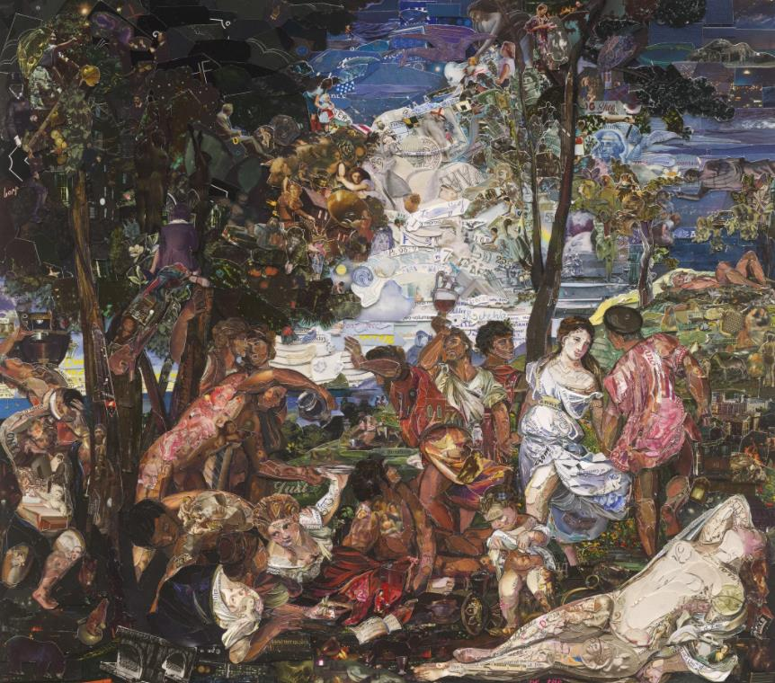 The Prado Museum, Bacchanal of the Andrians, after Titian (Repro) by Vik Muniz