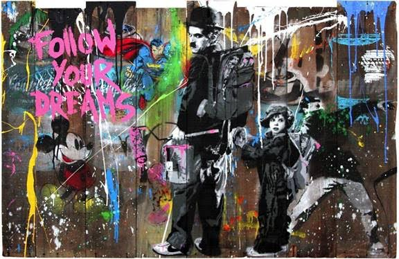 Chaplin and Kid by Mr. Brainwash