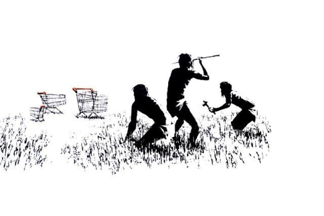 Trolley Hunters (Black and White) by Banksy