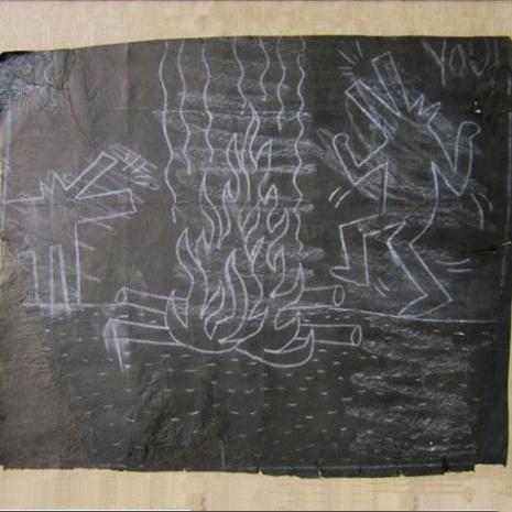dogs dancing around the fire by keith haring