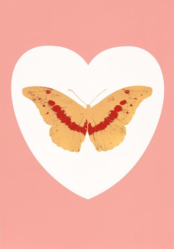 I Love You- white, pink, cool gold, poppy red By Damien Hirst