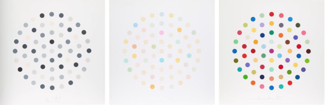 circles tryptich by damien hirst