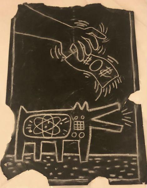 Untitled Subway Drawing (Barking Dog and Money) by Keith Haring