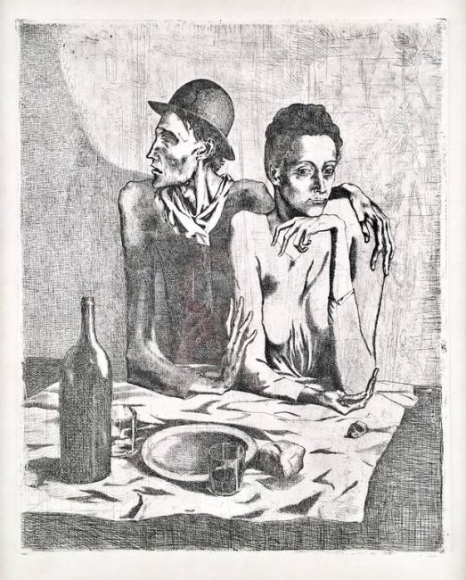 Le Repas Frugal from Suite des Saltimbanque by Picasso