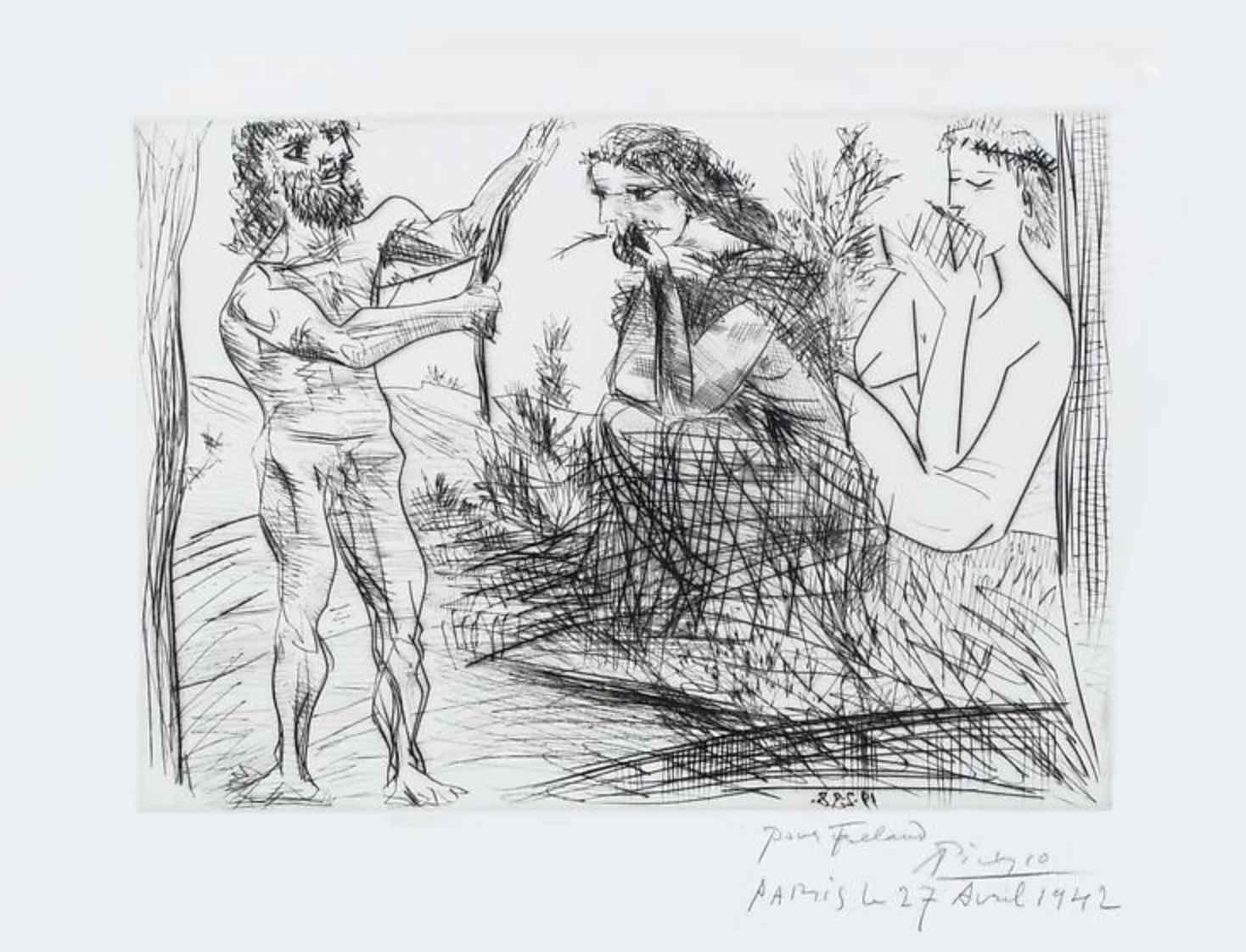 Homme Façonnant un Arc Devant une Jeune Femme et un Flutiste by Picasso