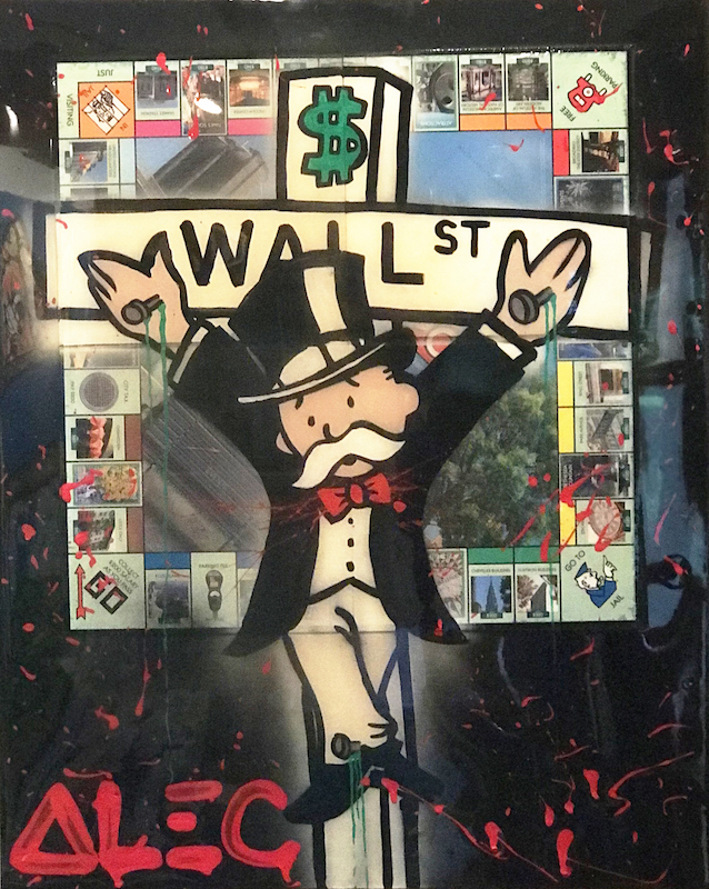 Wall St. Cross NY Monopoly board by Alec Monopoly