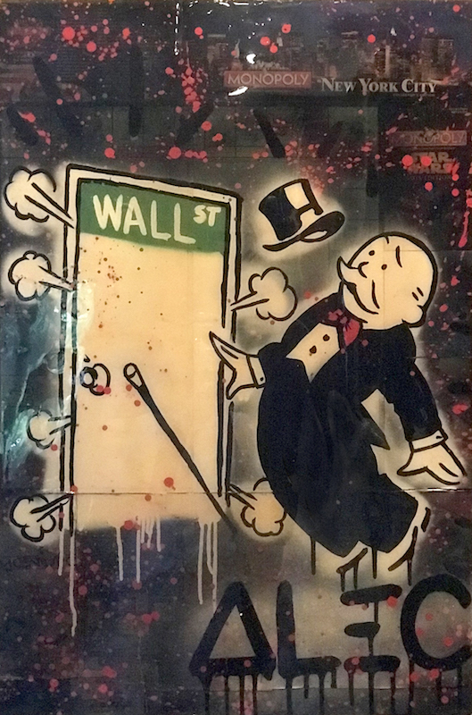 Wall St. on NY Monopoly board by Alec Monopoly