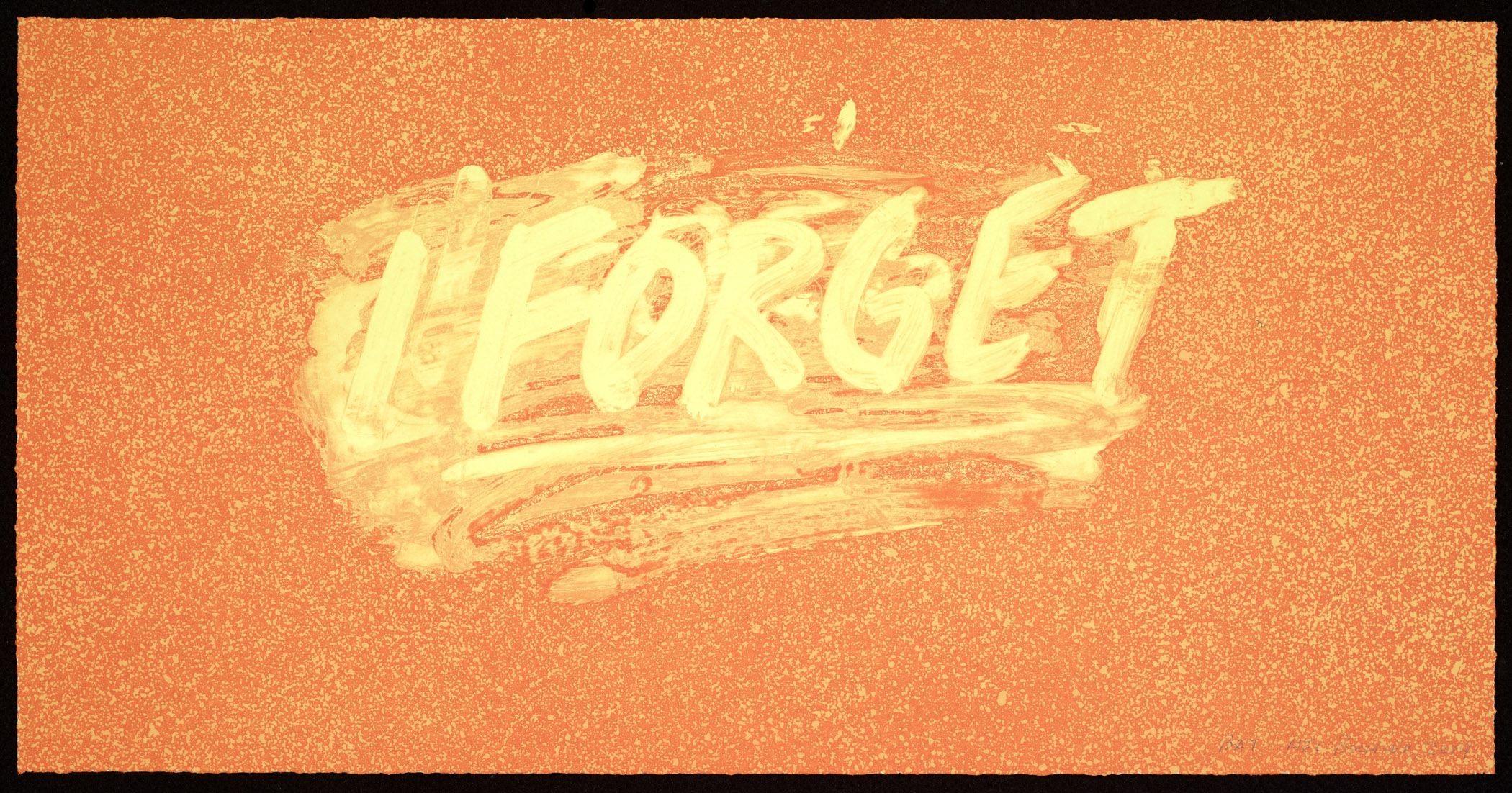 I forget (orange) by Mel Bochner