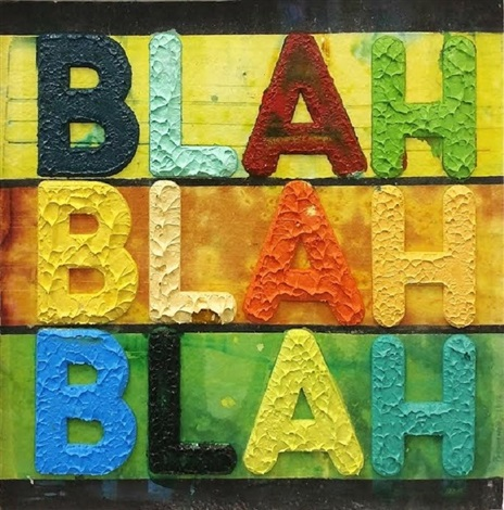 Blah blah blah (yellow) by Mel Bochner