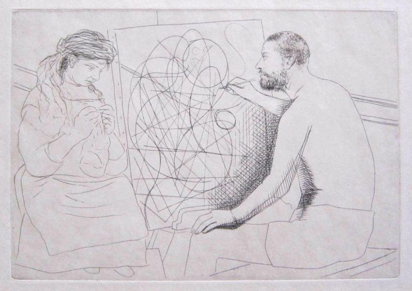 Peintre et Modèle Tricotant by Picasso