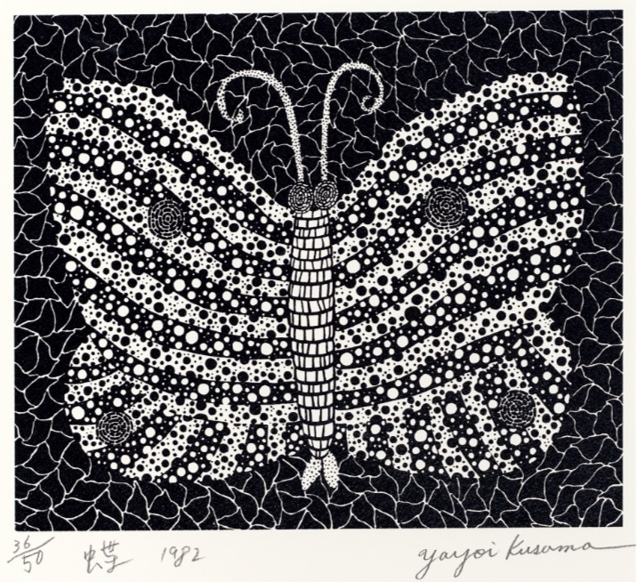 Butterfly Black and White by Yayoi Kusama