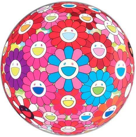 Flower Ball (3D) Blue and Red by Takashi Murakami