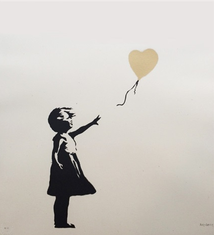 Girl With Balloon Gold by Banksy