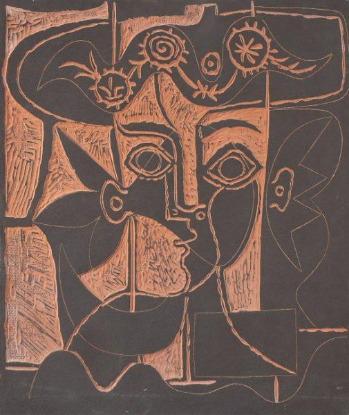 Grand Tete de Femme au Chapeau Orne by Picasso