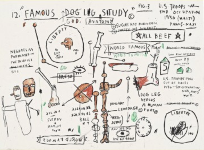 Untitled Dog Leg Study by Jean-Michel Basquiat