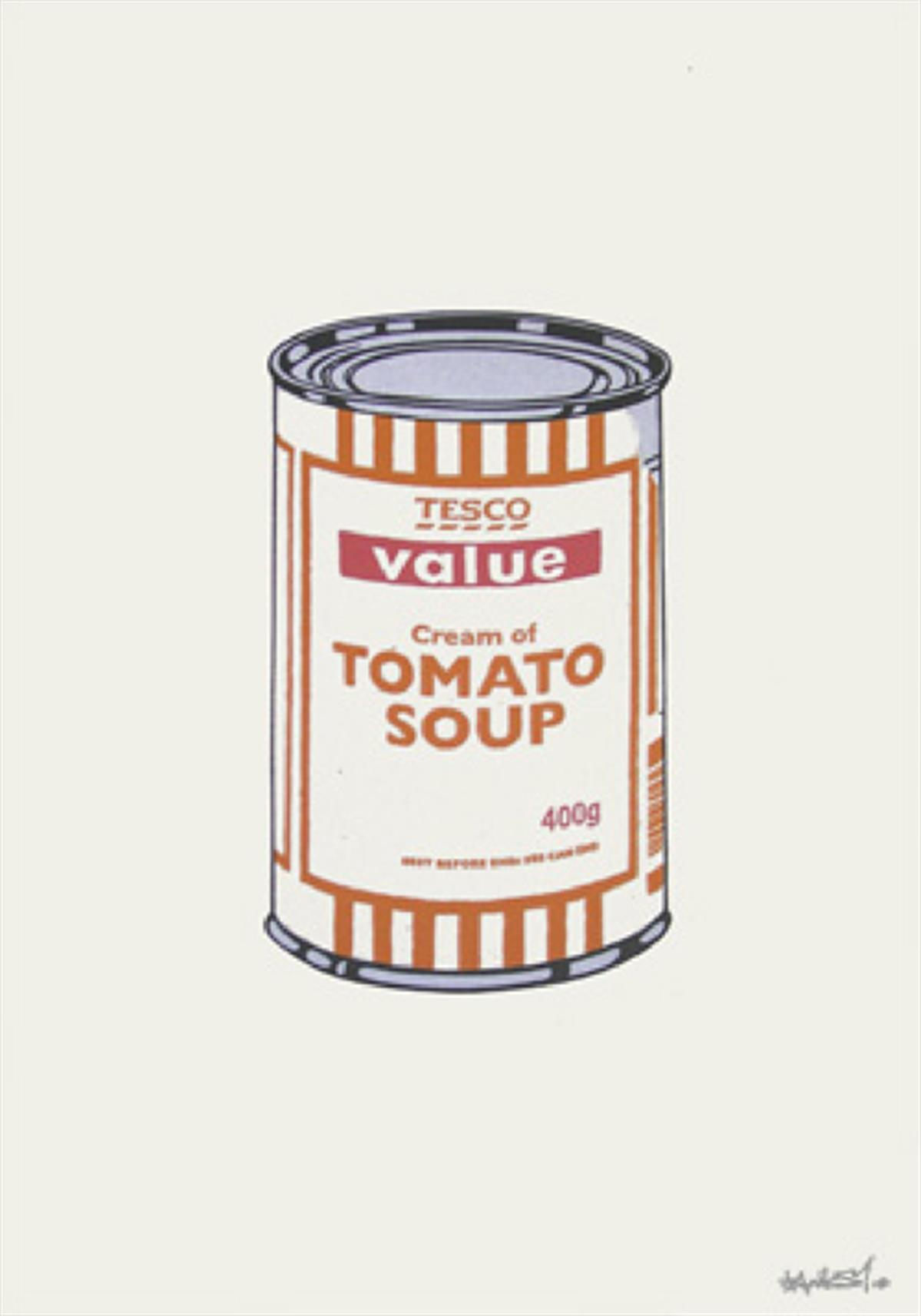 Soup Can (White/Orange/Raspberry) by Banksy