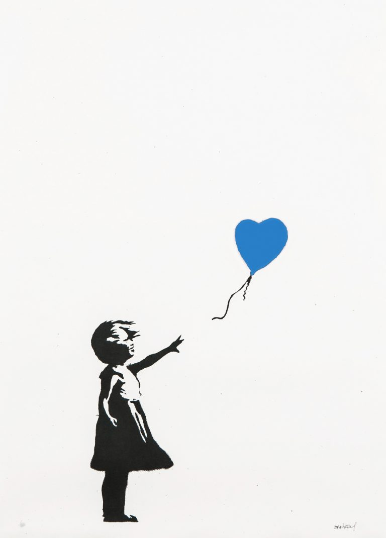 Girl with Balloon (Blue) by Banksy