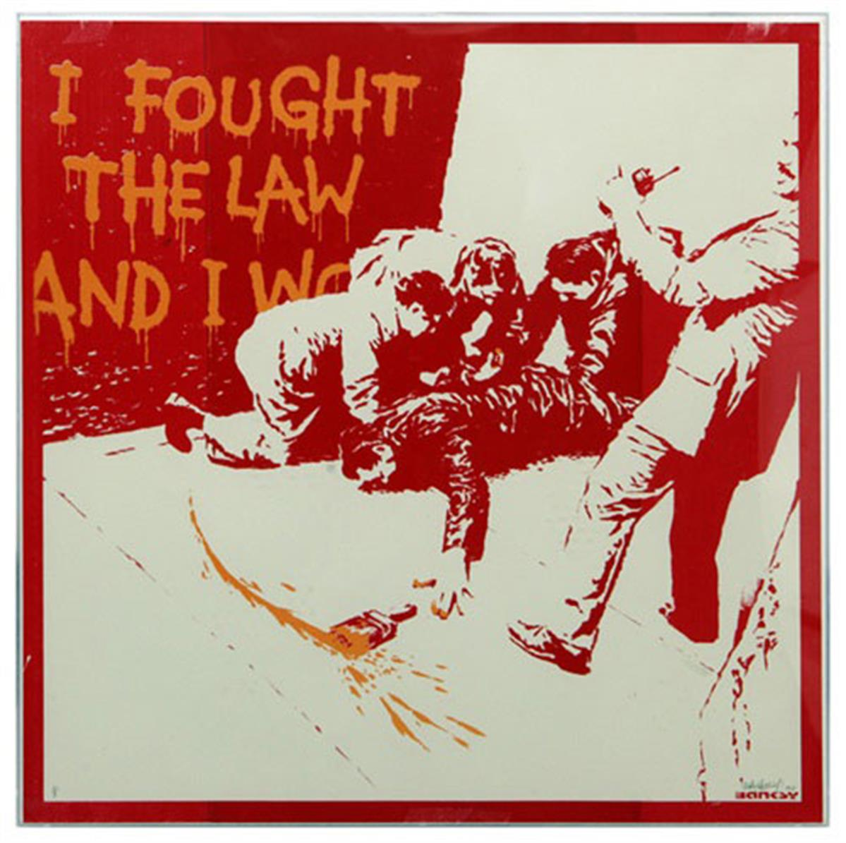 I fought the law (orange) by Banksy
