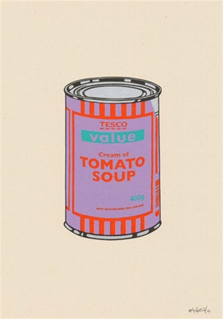bSoup Can (Violet/Orange/Mint) by Banksy