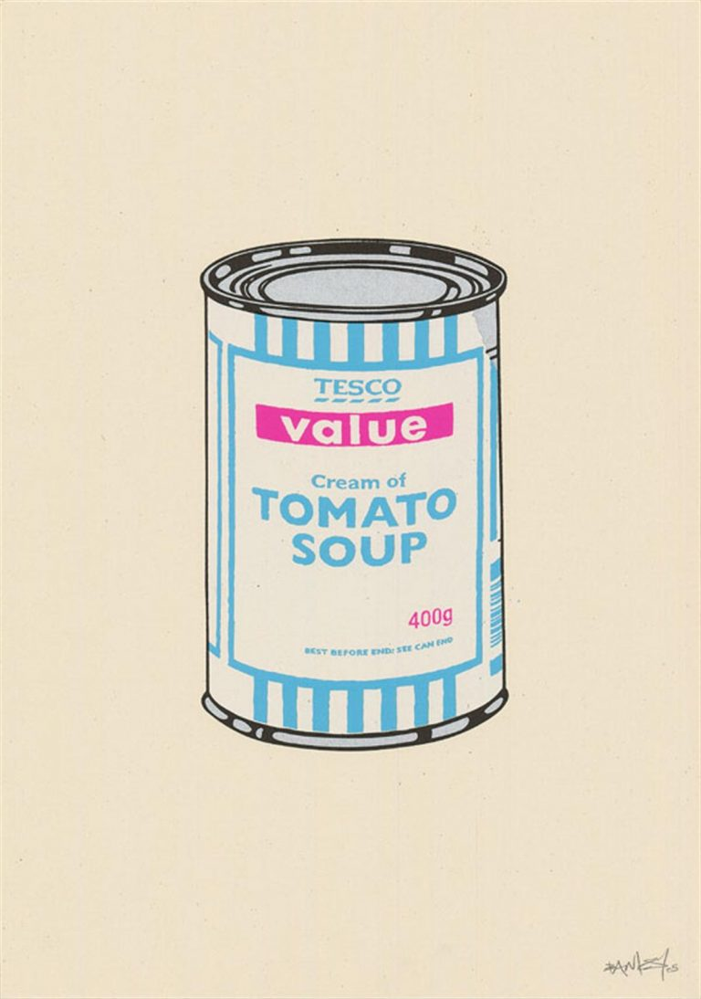 Soup Can (White/Blue/Hot Pink) by Banksy