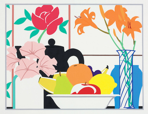 Still Life of Petunias, Lilies and Fruit by Tom Wesselmann