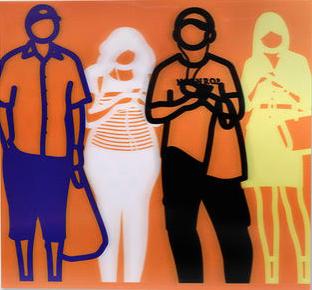 Blue White Black Yellow (Standing People) by Julian Opie