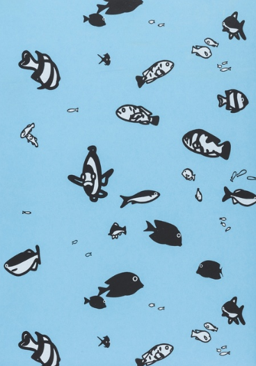 Julian Opie Fish Woodcut Printed Wallpaper