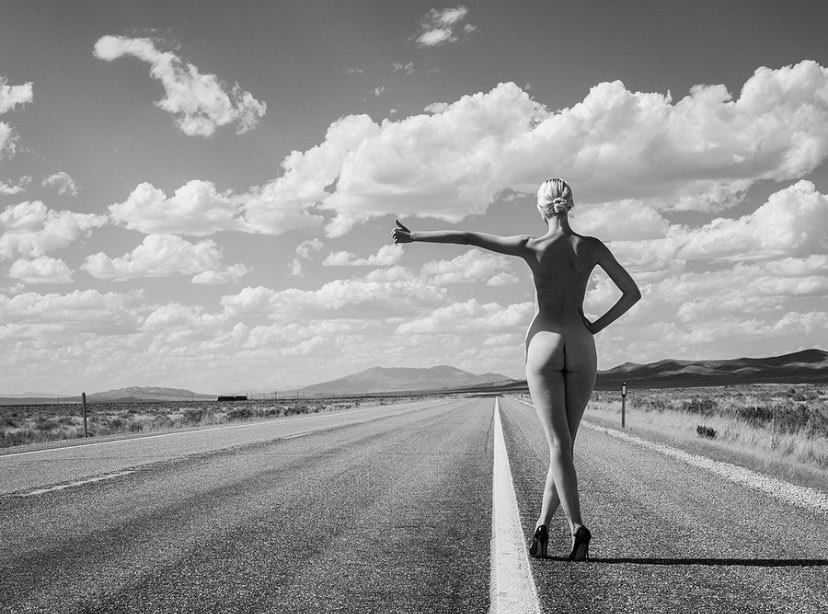 Naked Hitchhiking by Tyler Shields
