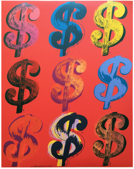 Dollar Sign 9 (Red) by Andy Warhol